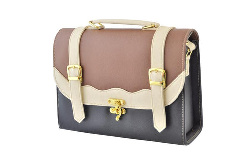Back to School Double Strap Satchel in Black and Tan