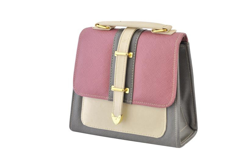 Retro Grey and Pink Box Handbag