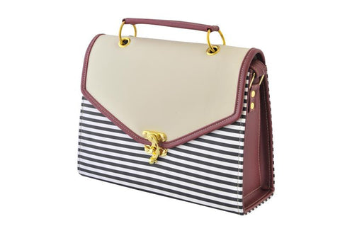 Contrast Envelope Satchel Bag in Beige and Stripes