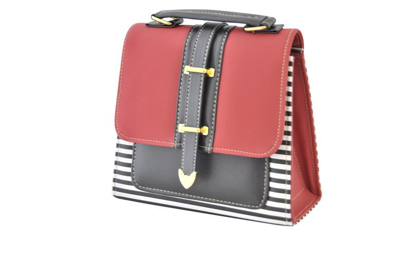 Retro Red and Black Striped Box Handbag