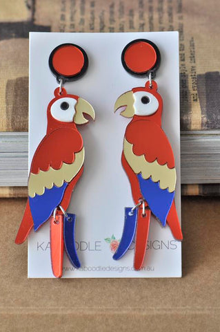 Acrylic Perspex Laser Cut Parrot Drop Earrings