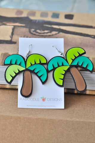 Acrylic Perspex Laser Cut Palm Tree Drop Earrings