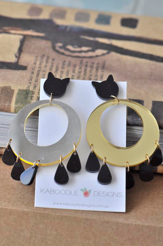 Acrylic Perspex Laser Cut Cat Mirror Gold Drop Earrings
