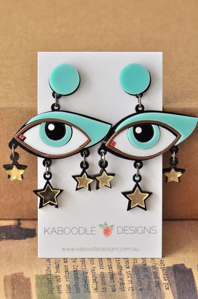 Acrylic Perspex Laser Cut Eyes Drop Earrings