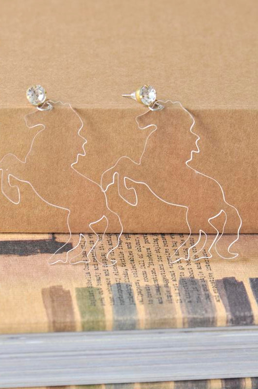 Acrylic Perspex Laser Cut Clear Horse Drop Earrings - Transparent