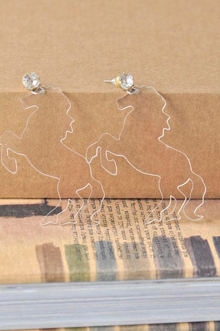 Acrylic Perspex Laser Cut Clear Horse Drop Earrings