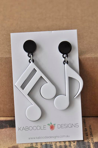 Acrylic Perspex Laser Cut Music Notes Drop Earrings