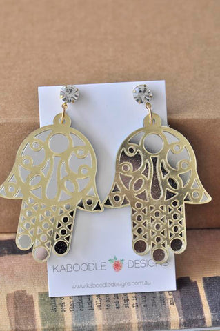 Acrylic Perspex Laser Cut Hamsa Hand Drop Earrings