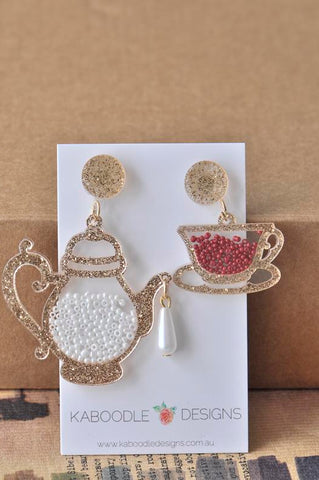 Acrylic Perspex Laser Cut Tea Pot and Tea Cup Drop Earrings