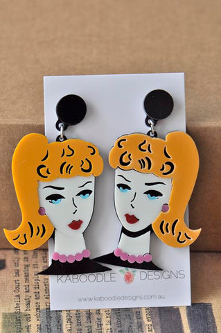Acrylic Perspex Laser Cut Barbie Girl Lady Drop Earrings