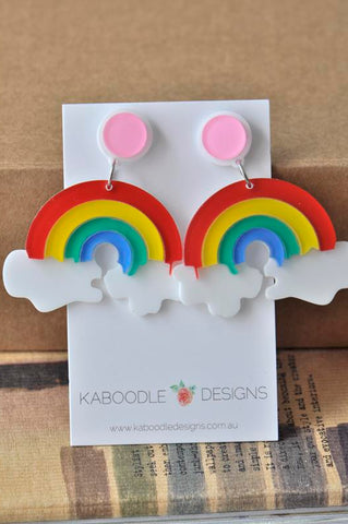 Acrylic Perspex Laser Cut Rainbow Cloud Drop Earrings