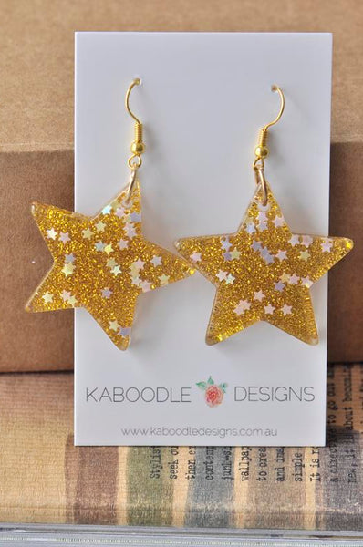 Miniature Glitter Star Dangle Drop Earrings - Gold