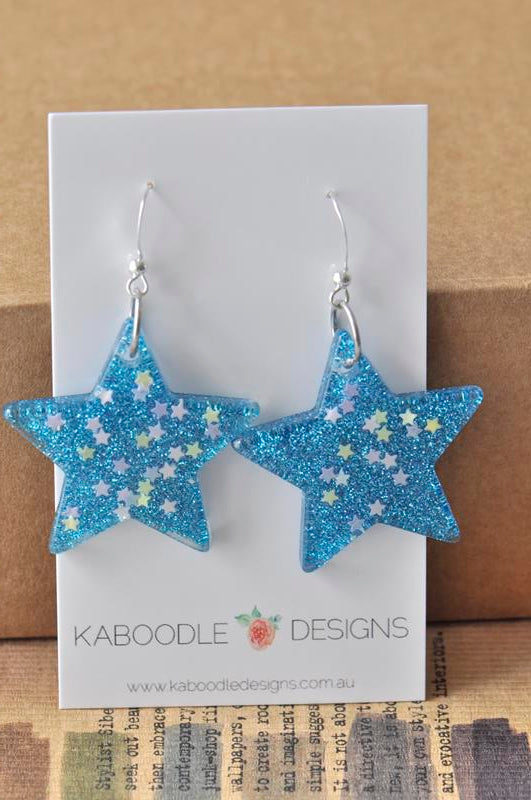 Miniature Glitter Star Dangle Drop Earrings - Blue