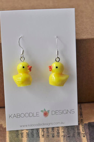 Miniature Rubber Ducky Dangle Drop Earrings