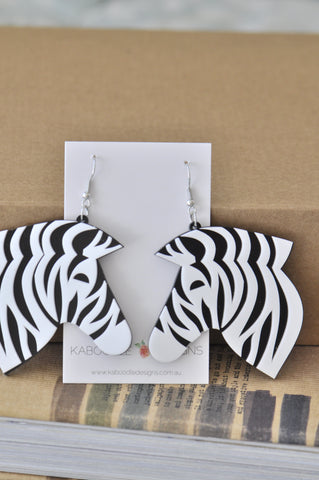 Acrylic Perspex Laser Cut Zebra Drop Earrings