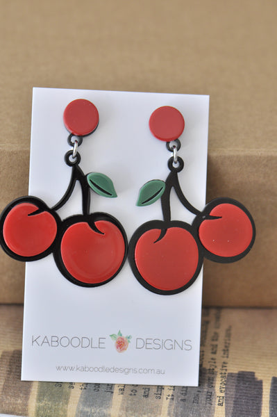 Acrylic Perspex Laser Cut Cherry Drop Earrings