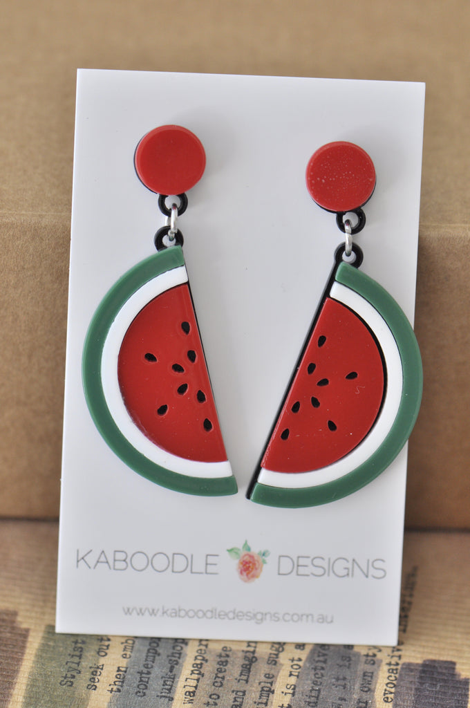 Acrylic Perspex Laser Cut Watermelon Drop Earrings