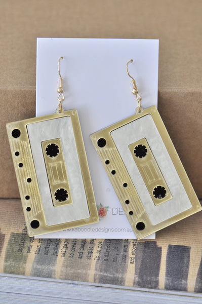 Acrylic Perspex Laser Cut Retro Cassette Tape Drop Earrings - Gold