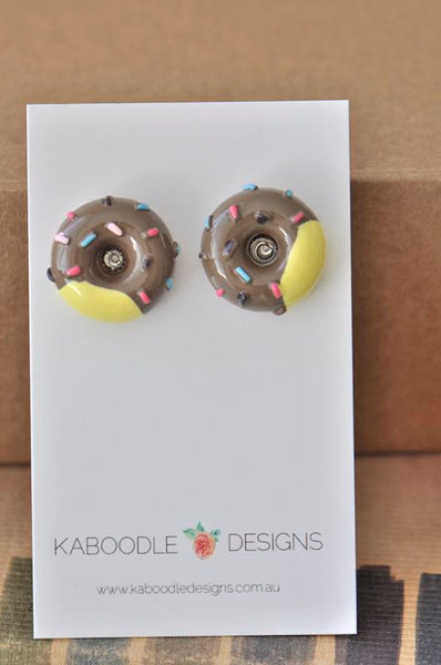 Miniature Resin Donut Doughnut Sprinkles Stud Earrings - Chocolate