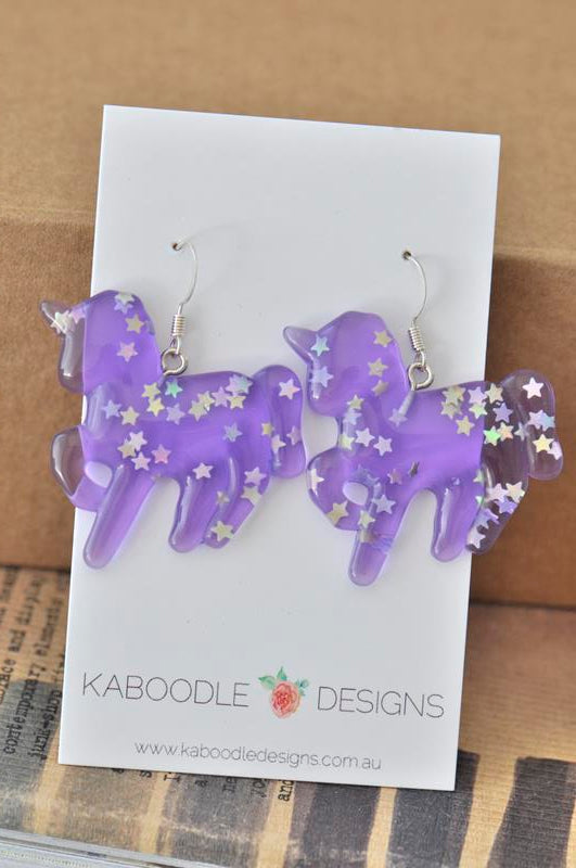 Resin Rainbow Glitter Unicorn Dangle Drop Earrings - Purple