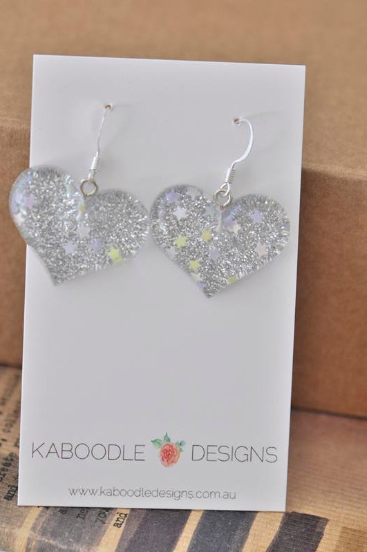 Resin Glitter Heart Danlge Earrings - Silver