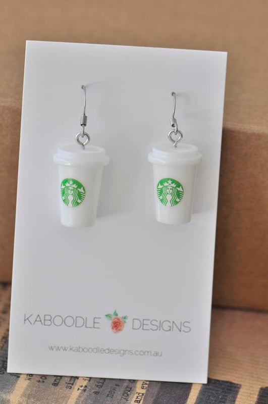 Miniature 3D Drink Coffee Cup Dangle Earrings