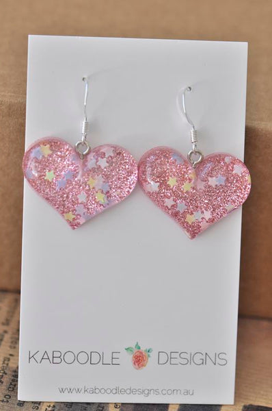 Resin Glitter Heart Danlge Earrings - Light Pink