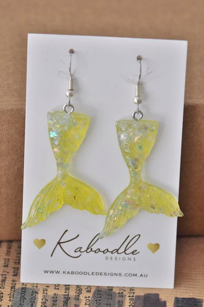 Resin Glitter Mermaid Fish Tail Dangle Drop Earrings - Yellow