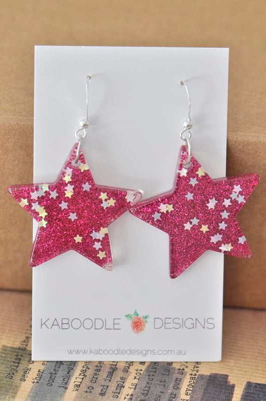 Miniature Glitter Star Dangle Drop Earrings - Hot Pink