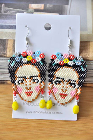 A Frida Kahlo Seed Bead Drop Dangle Earrings