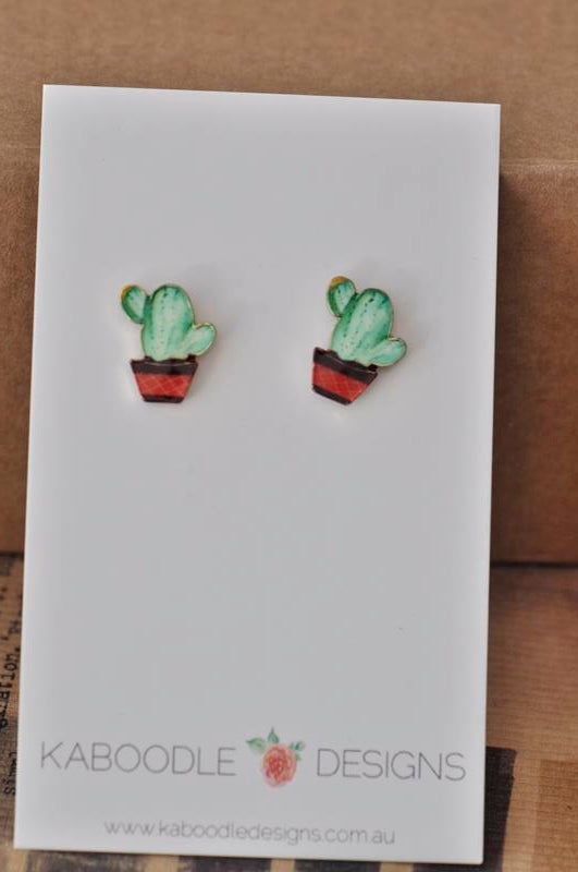 Enamel Cactus Stud Earrings