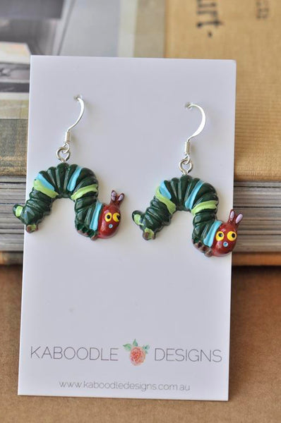 Miniature Very Hungry Caterpillar Dangle Earrings