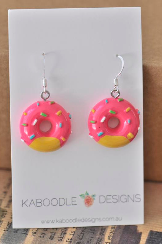 Miniature Resin Donut Doughnut Sprinkles Dangle Earrings - Dark Pink