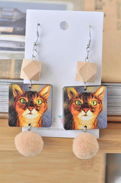 Novelty Fun Wooden Cat Pom Pom Drop Dangle Earrings