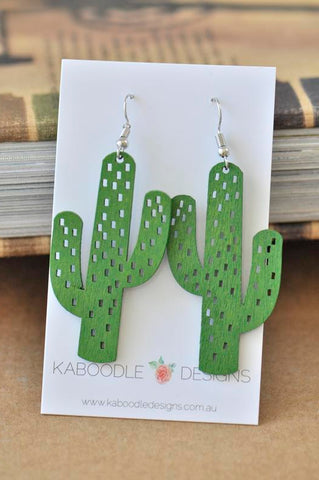 Wooden Cut Out Cactus Dangle Earrings