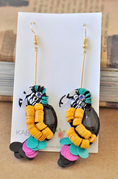 Colourful Sequin Parrot Drop Earrings