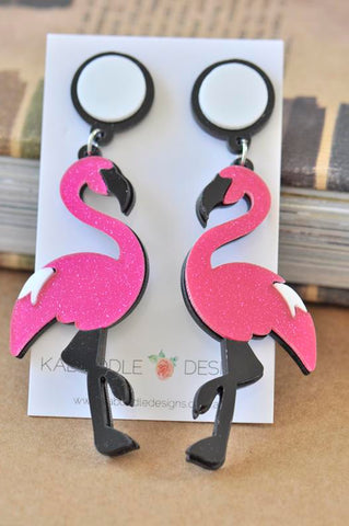 Acrylic Perspex Flamingo Drop Earrings