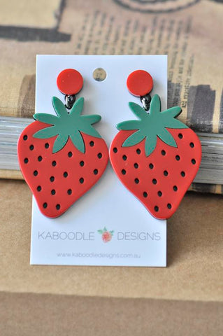 Acrylic Perspex Laser Cut Strawberry Drop Earrings