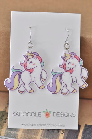 Acrylic Perspex Rainbow Unicorn Dangle Drop Earrings