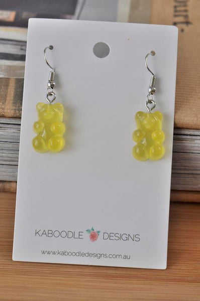 Miniature 3D Candy Lolly Gummy bear Dangle Drop Earrings - Yellow