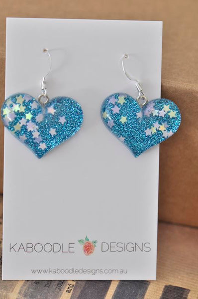 Resin Glitter Heart Danlge Earrings - Blue