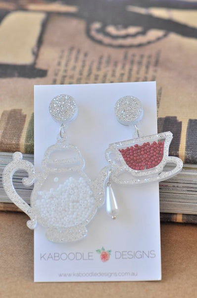 Acrylic Perspex Laser Cut Tea Pot and Tea Cup Drop Earrings - Silver