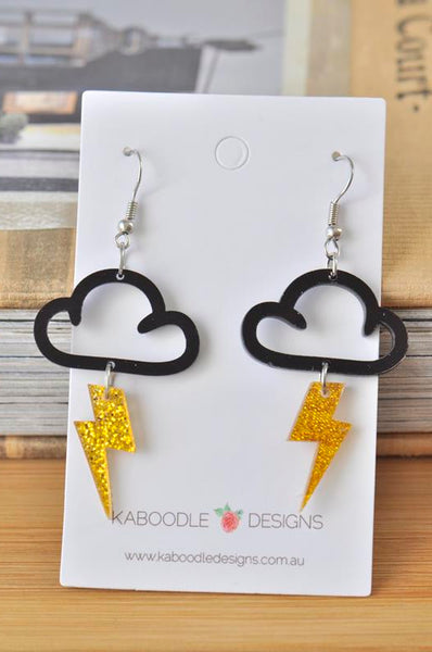 Acrylic Perspex Laser Cut Glitter Lightning and Cloud Drop Earrings