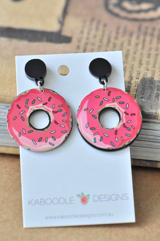 Acrylic Perspex Laser Cut Donut Drop Earrings