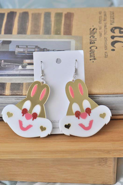 Acrylic Easter Bunny Rabbit Drop Dangle Earrings