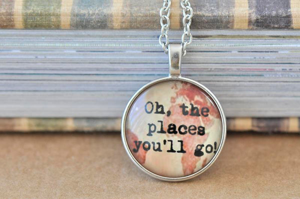 Handmade 25mm Adventure Glass Pendant Necklace - Dr Seuss Oh The Places You'll Go