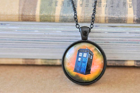 Handmade 25mm Glass Pendant Necklace - Doctor Who Tardis