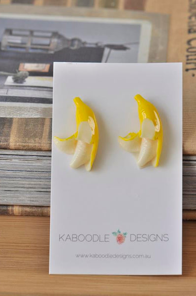 Banana Resin Miniature Food Stud Earrings