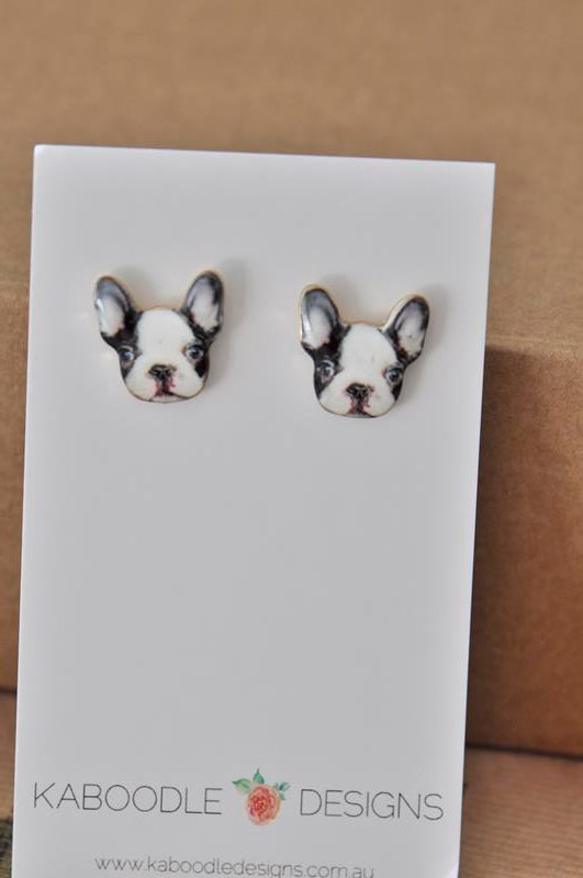 Enamel Dog French Bulldog Stud Earrings