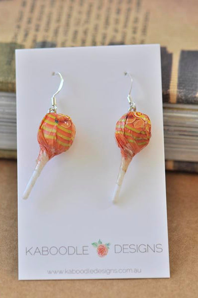 Miniature 3D Candy Lolly Chupa Chups Lollipop Dangle Earrings - Orange